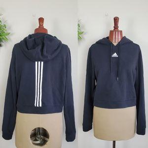 Adidas Cropped Crop Hoodie Sweatshirt Black Stripe